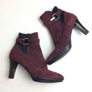 Aquatalia Suede Heeled Burgundy Ankle Boots 9